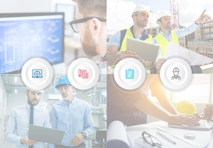 Four photos and icons representing engineer, detailer, fabricator, and erector