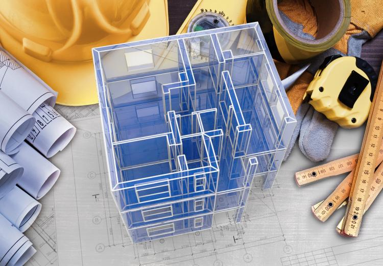 Composite image of tools, hard hat, and drawings, and a 3d model of a building