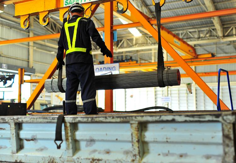 Material handling in a steel fabrication shop